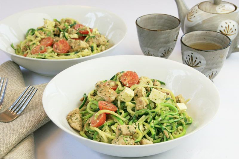 Diabetic Lunch: Chicken Pesto Zoodle Salad