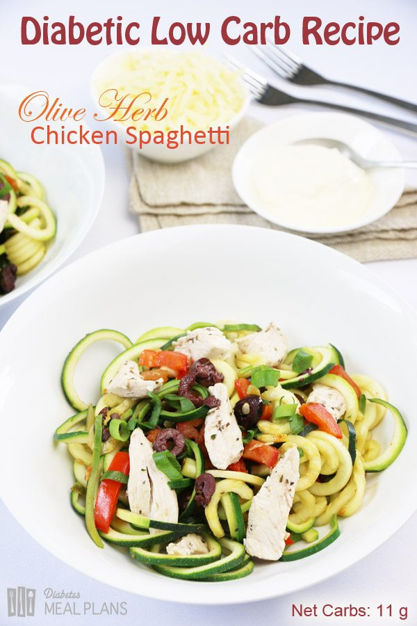 Low Carb Diabetic Olive Herb Chicken Spaghetti
