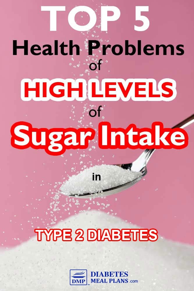 top 5 health problems of high levels of sugar intake