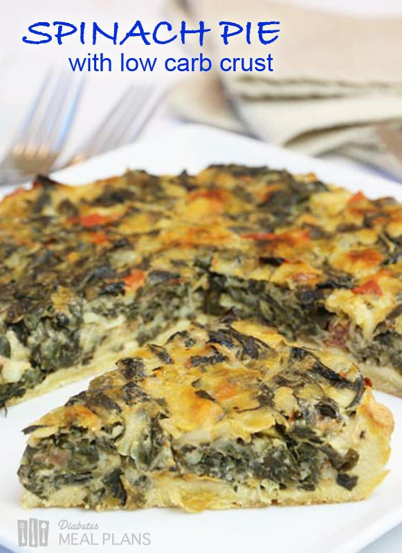 Spinach pie with low carb crust