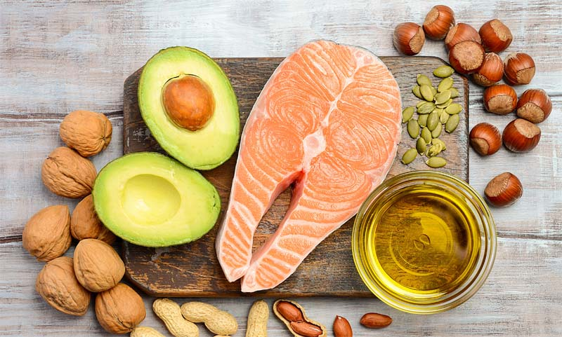 Salmon, nuts and avocado