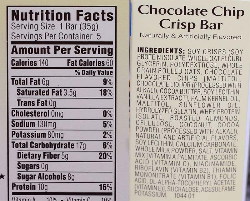 Atkins Bars Food Label