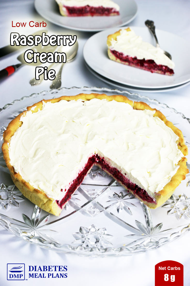 Low Carb Diabetic Raspberry Cream Pie - just 8g net carbs per slice - YUM!