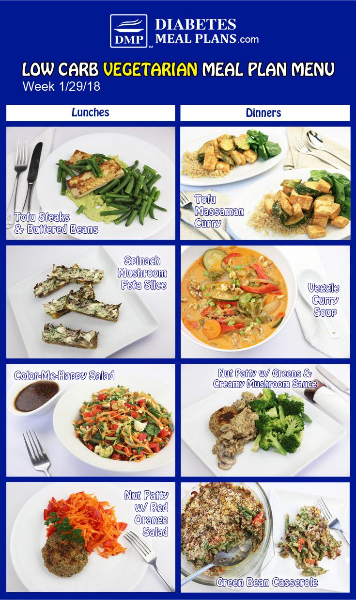 Low Carb Vegetarian Diabetic Meal Plan: Week of 1-29-18