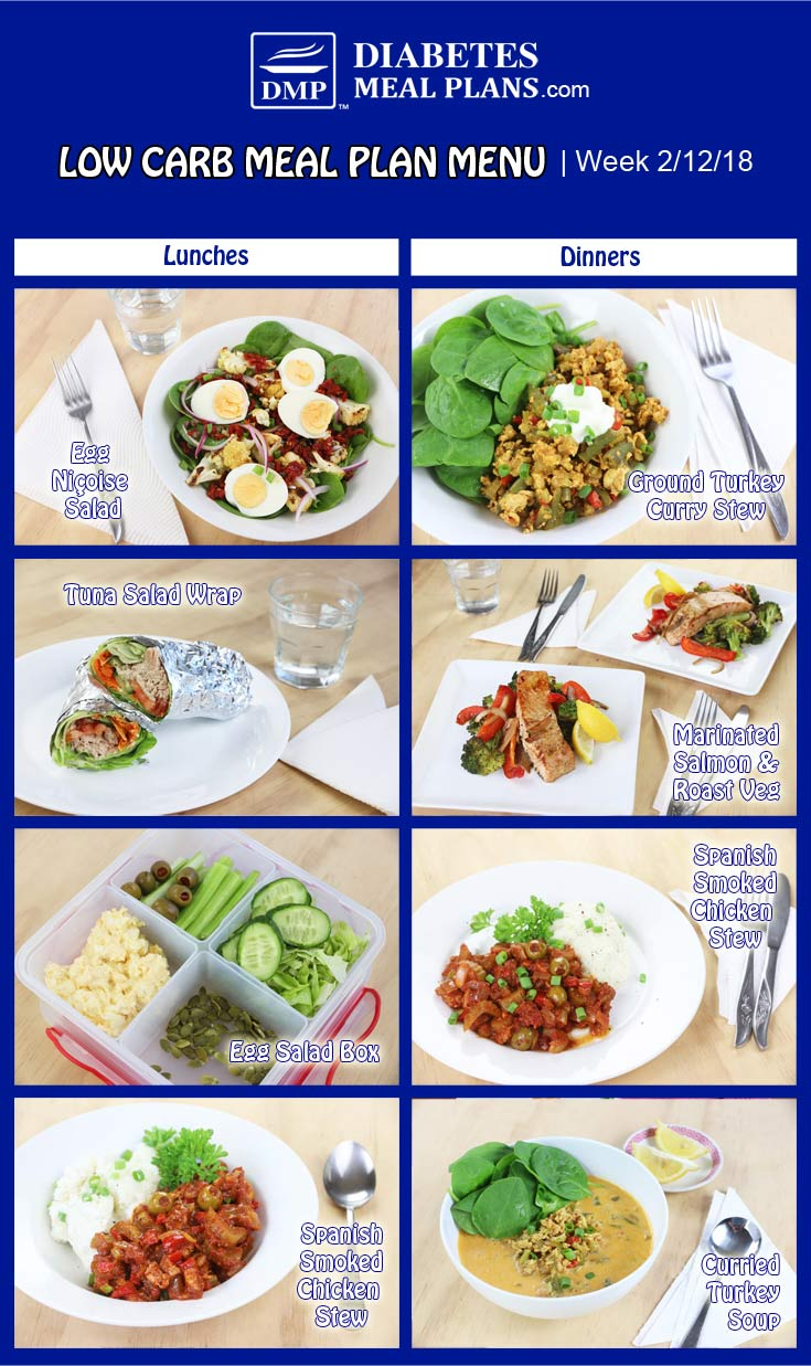 Low Carb Diabetic Meal Plan: Week of 2-12-18