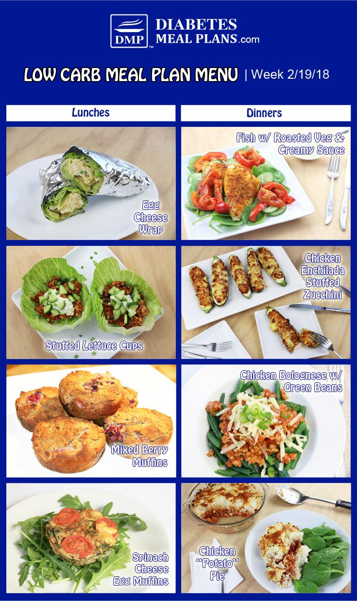 Low Carb Diabetic Meal Plan: Week of 2-19-18