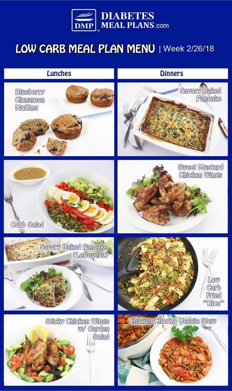 Low Carb Diabetic Meal Plan: Week of 2-26-18