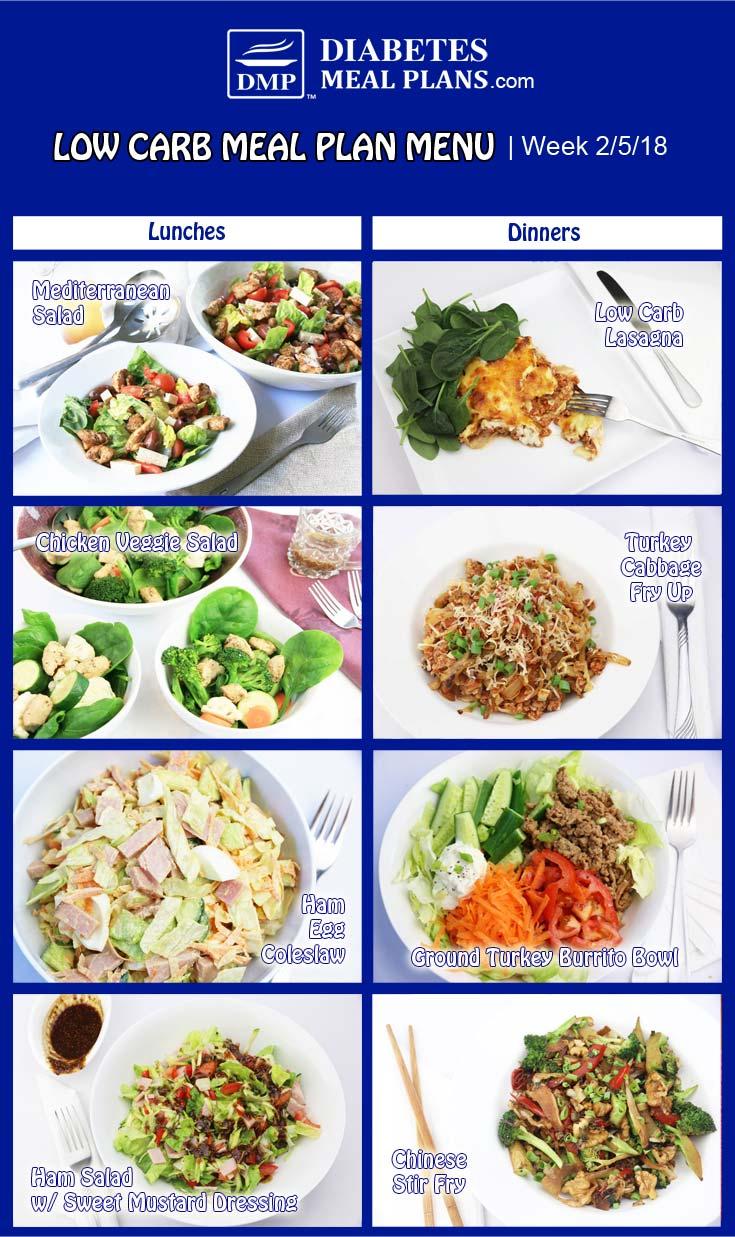 Low Carb Diabetic Meal Plan: Week of 2-5-18