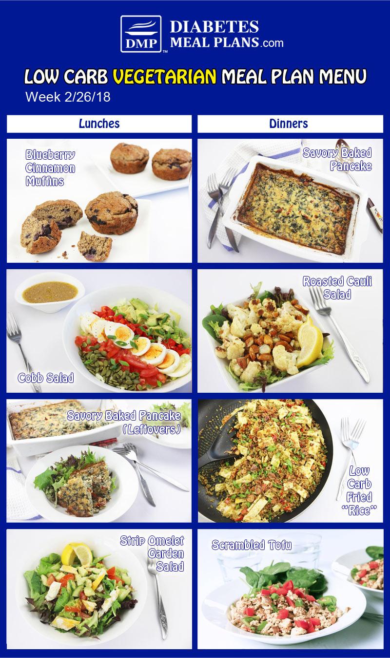 Low Carb Vegetarian Diabetic Meal Plan: Week of 2-26-18