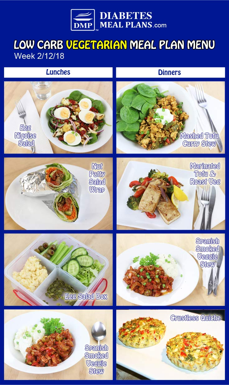 Low Carb Vegetarian Diabetic Meal Plan: Week of 2-12-18