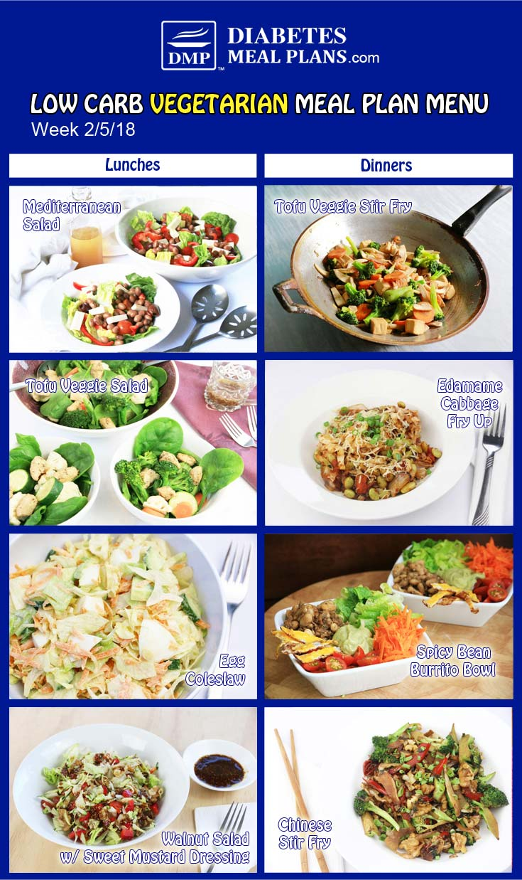 Low Carb Vegetarian Diabetic Meal Plan: Week of 2-5-18