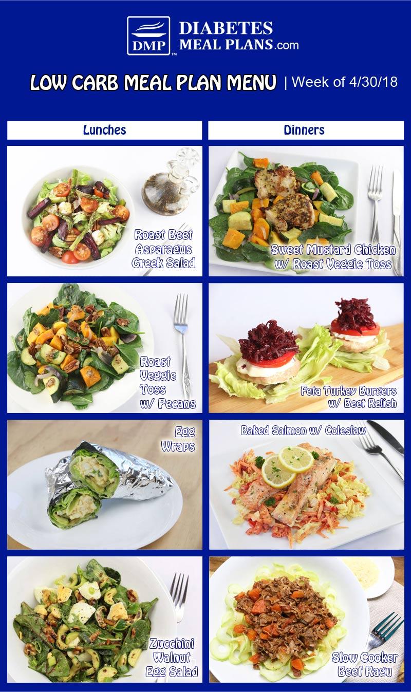 Low Carb Diabetic Meal Plan | Week of 4-30-18