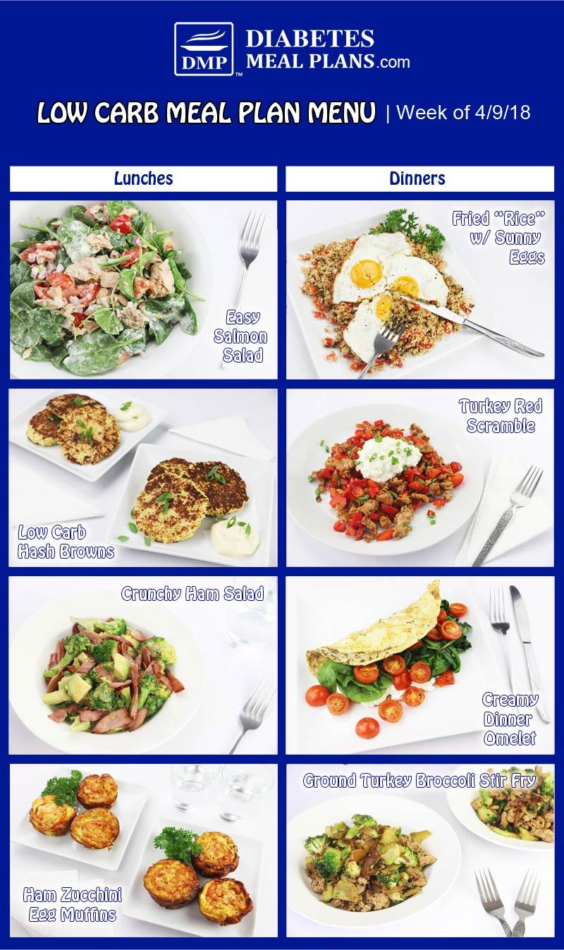 Low Carb Diabetic Meal Plan: Week of 4-9-18