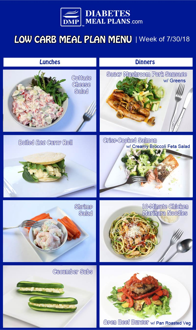 Featured Diabetes Meal Plan: Week of 7-30-18
