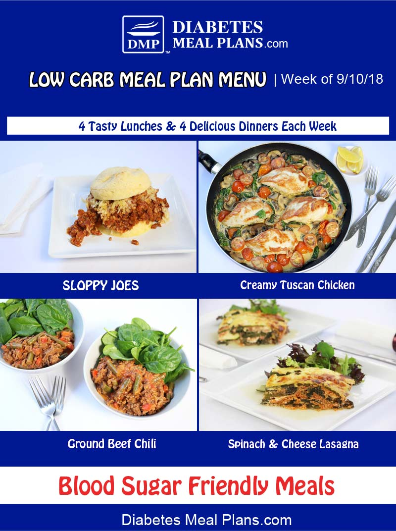 Diabetic Meal Plan Features: Week of 9-10-18