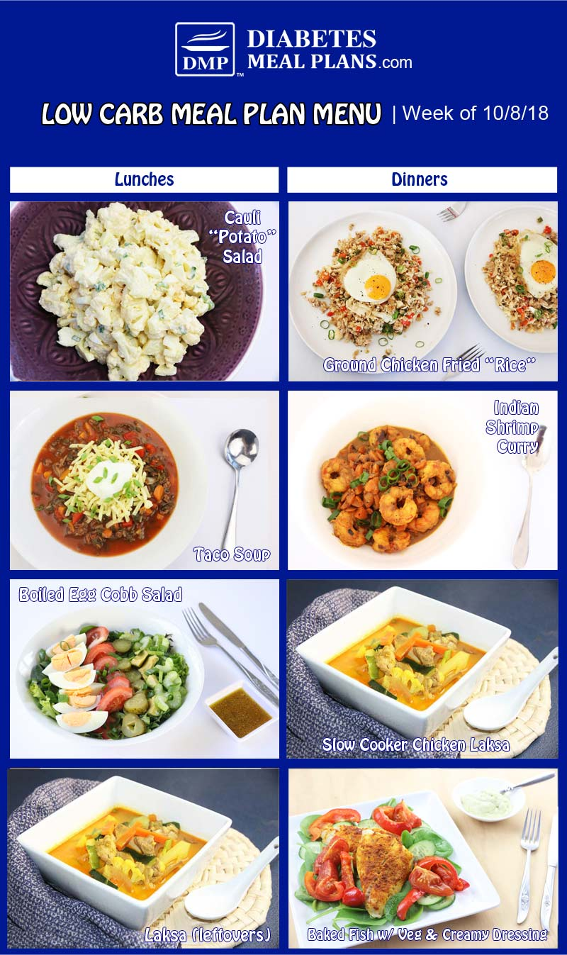 Diabetic Meal Plan Preview: Week of 10-8-18