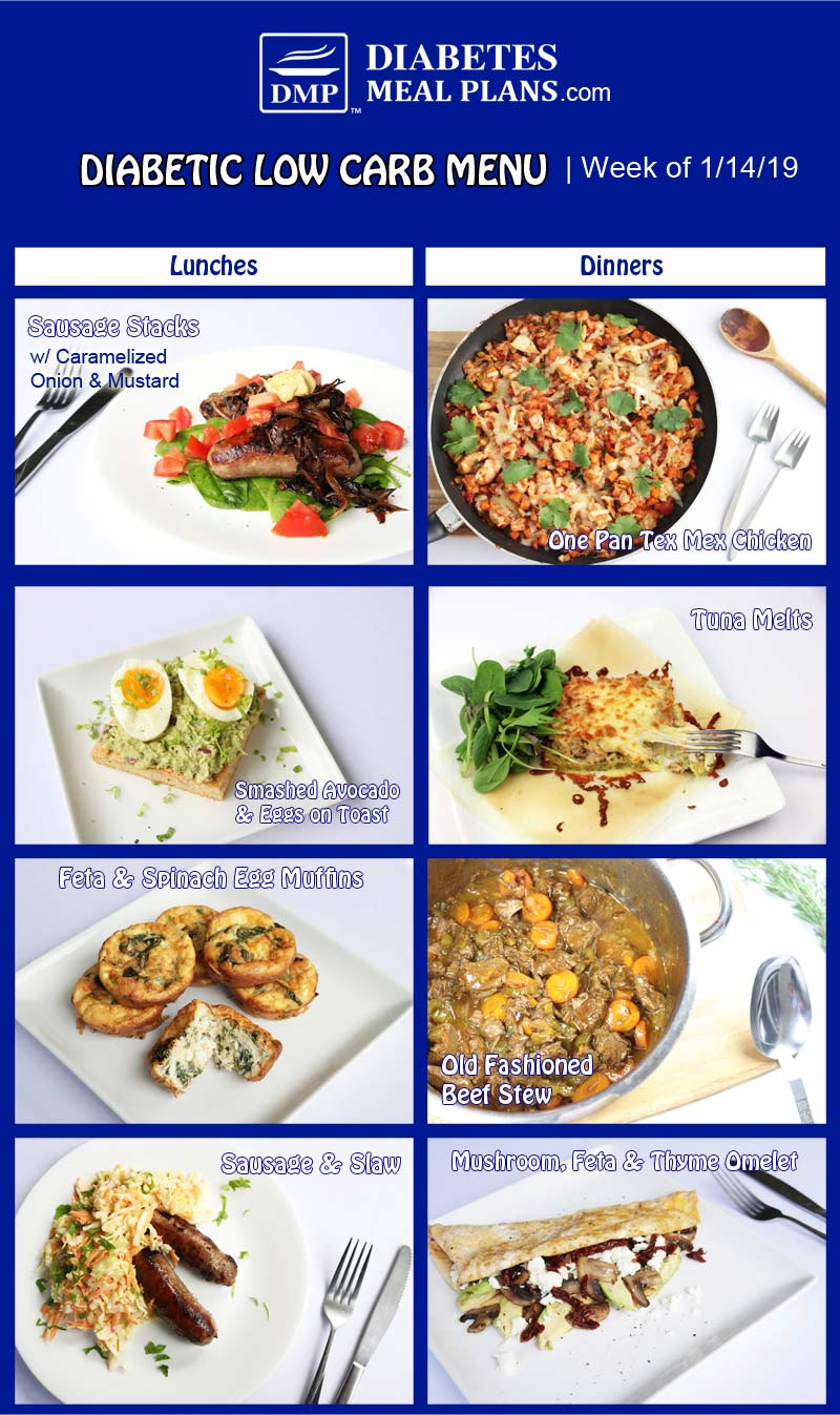 Featured Low Carb Diabetic Menu: Week of 1/14/19