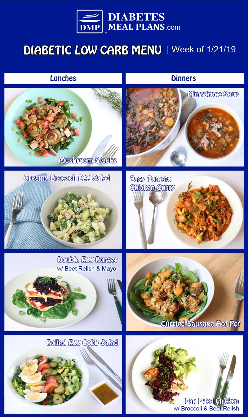 Diabetic Low Carb Meal Plan: Week of 1/21/19