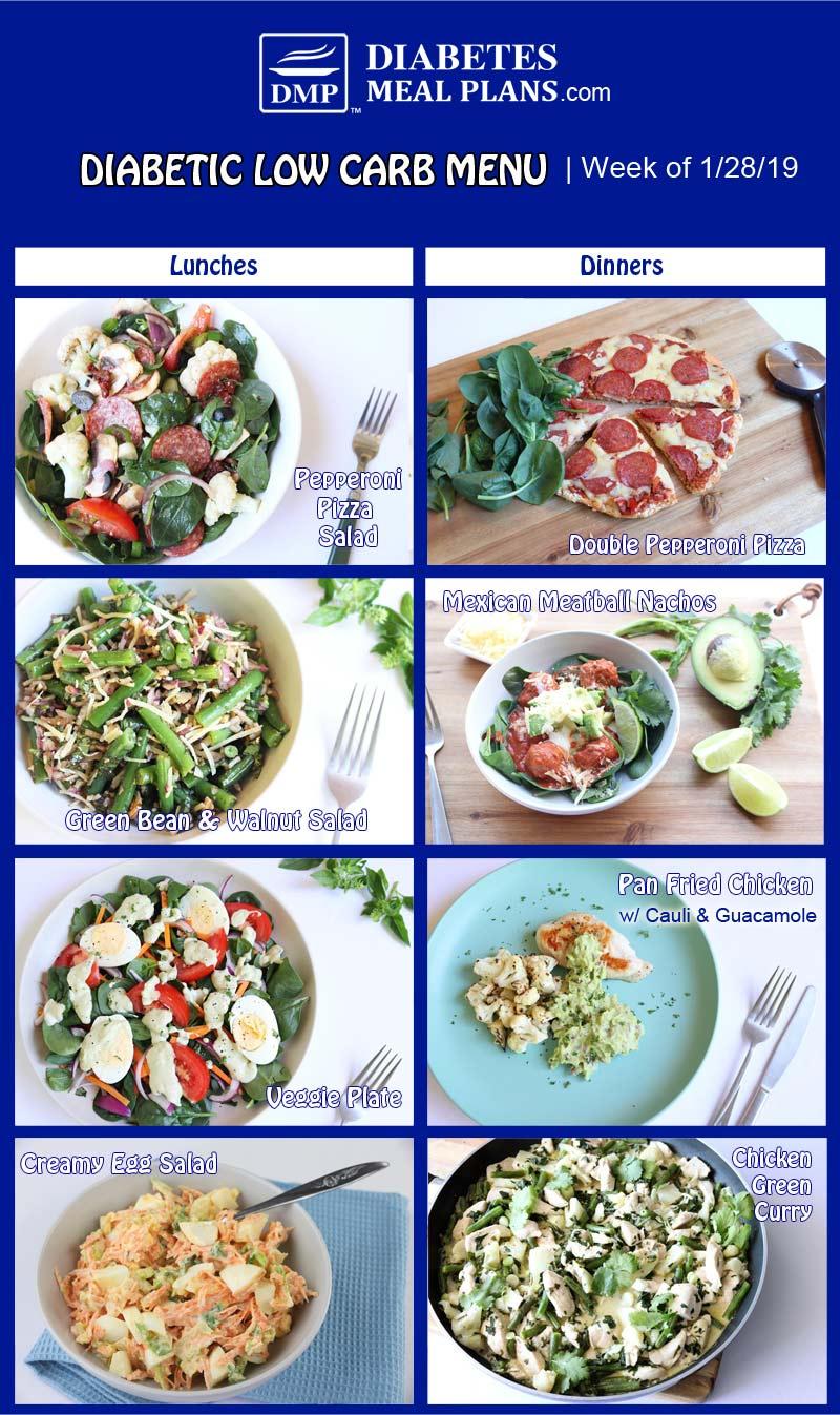 Low Carb Diabetic Meal Plan Preview: Week of 1-28-19