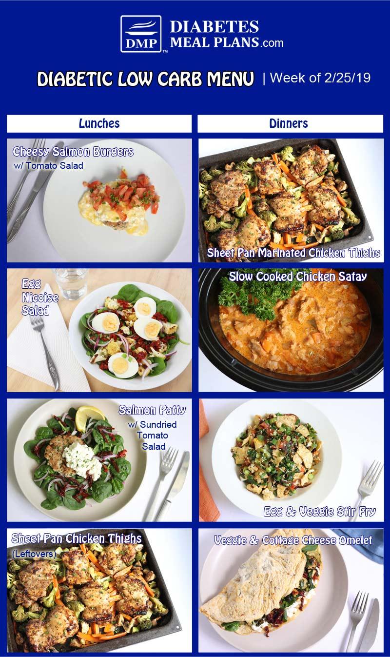 Low Carb Diabetic Meal Plan: Week of 2-25-19
