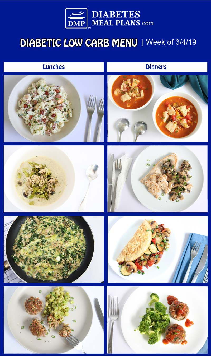 Diabetic Low Carb Meal Plan Preview: Week of 3/4/19
