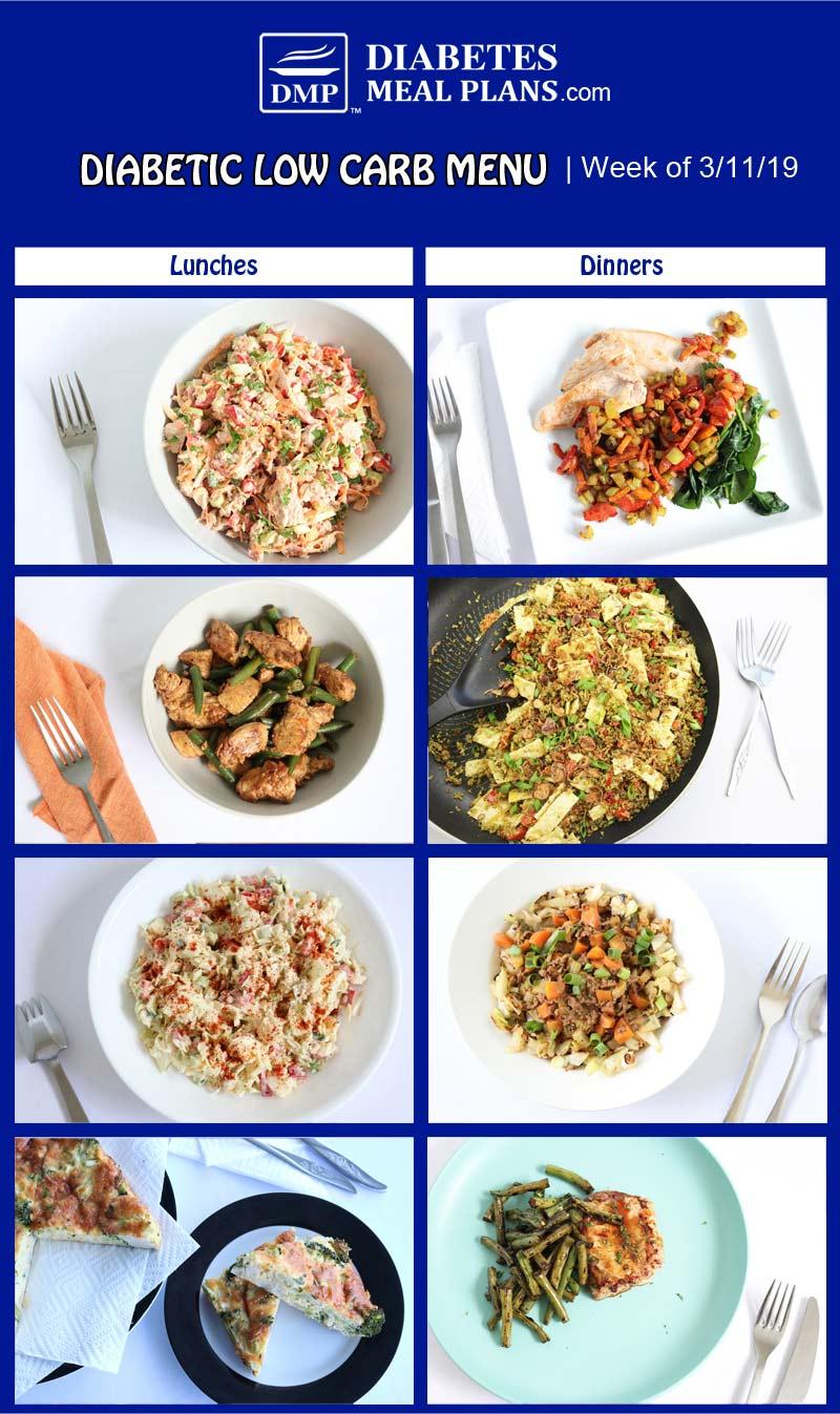 Diabetic Low Carb Meal Plan Preview: Week of 3/11/19