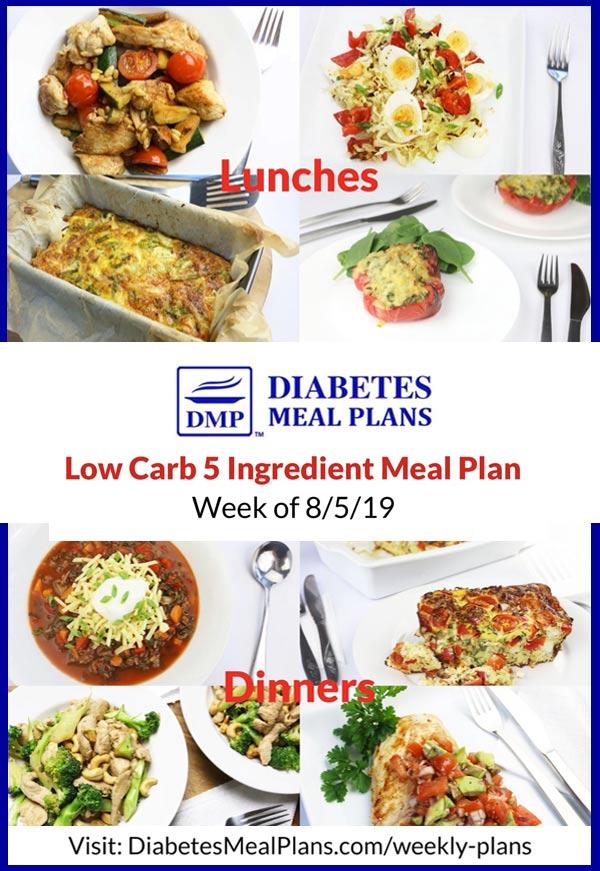 Featured diabetes meal plan menu week of 8-5-19
