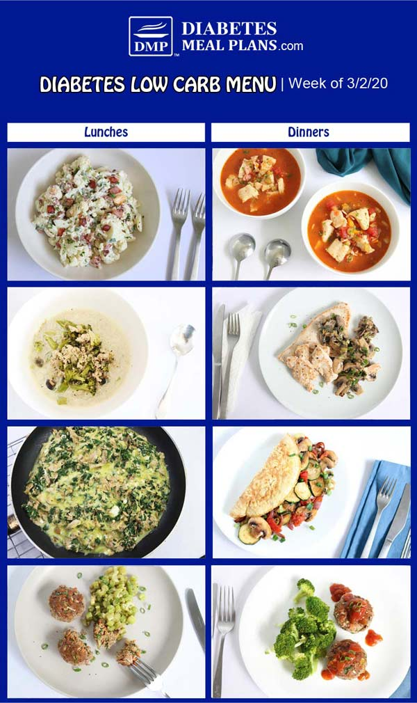 Diabetes Meal Plan: Menu Week of 3/2/20