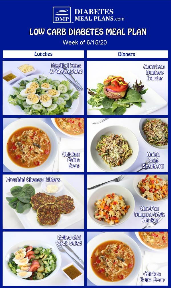 Diabetes Meal Plan: Menu Week of 6/15/20