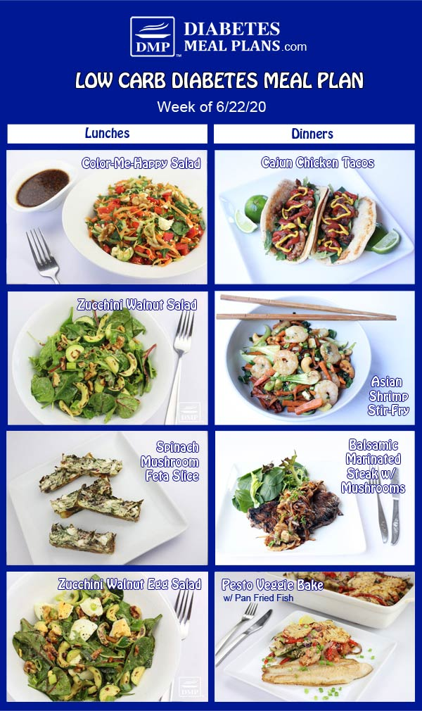 Diabetes Meal Plan: Menu Week of 6/22/20