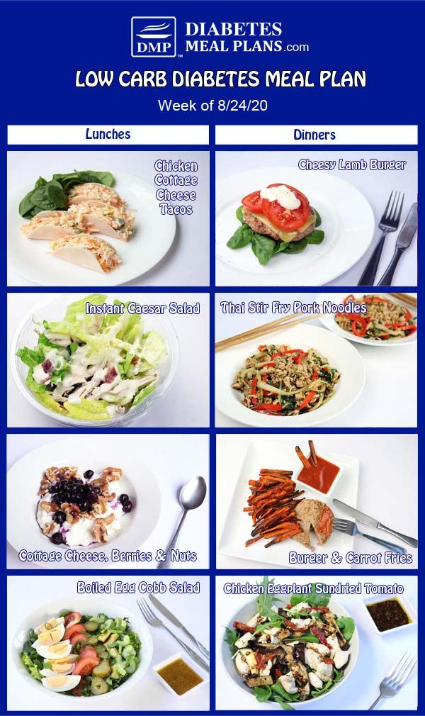 Diabetes Meal Plan: Menu Week of 8/24/20