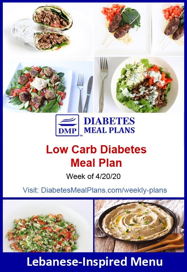 Diabetes Meal Plan: Menu Week of 4/20/20