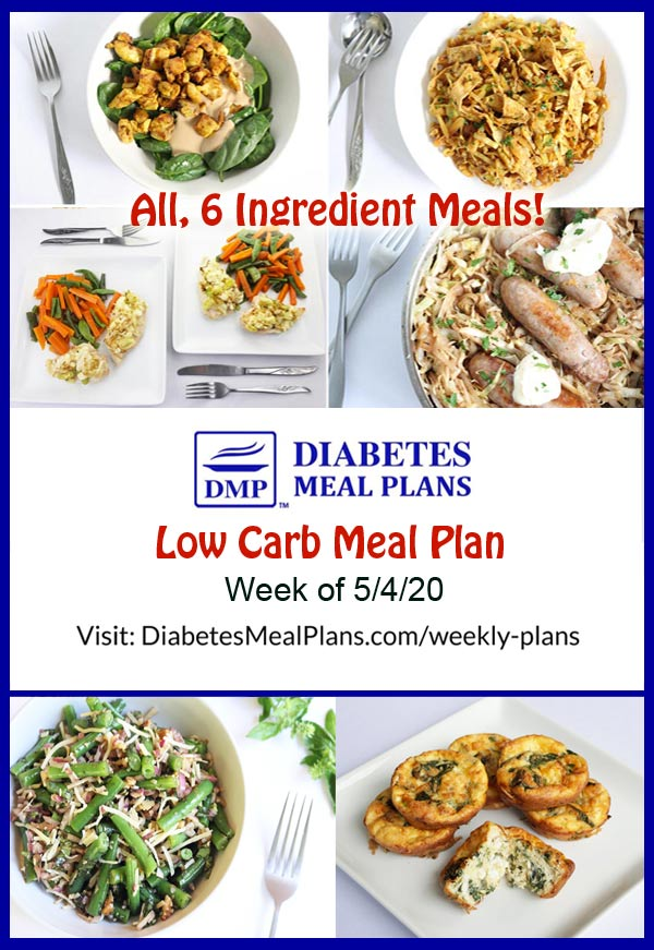 Diabetes Meal Plan: Menu Week of 5/4/20