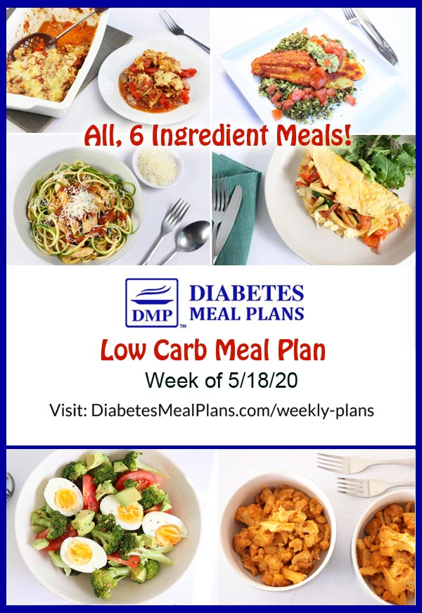 Diabetes Meal Plan: Menu Week of 5/18/20