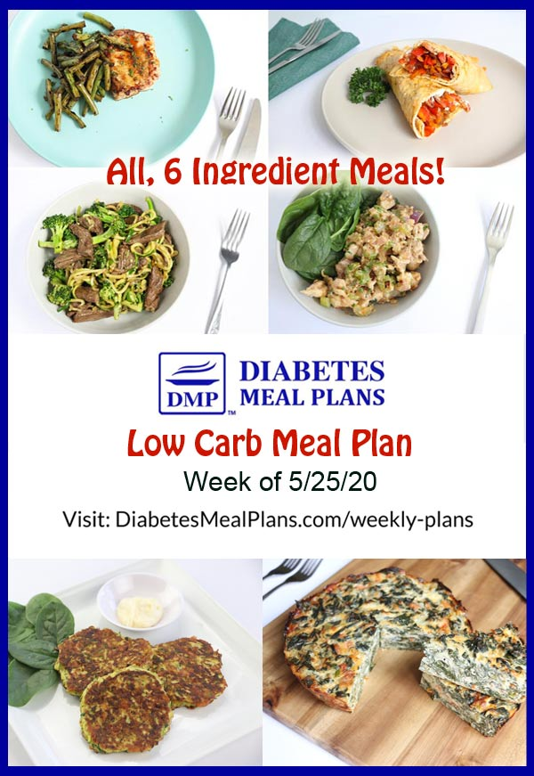 Diabetes Meal Plan: Menu Week of 5/25/20