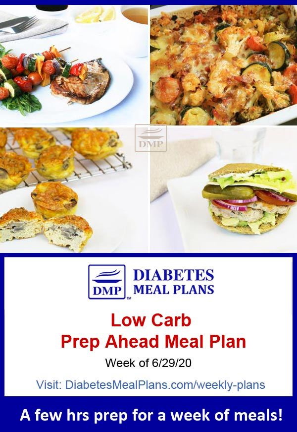 Diabetes Meal Plan: Menu Week of 6/29/20