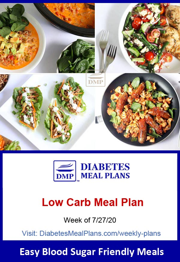 Diabetes Meal Plan: Menu Week of 7/27/20