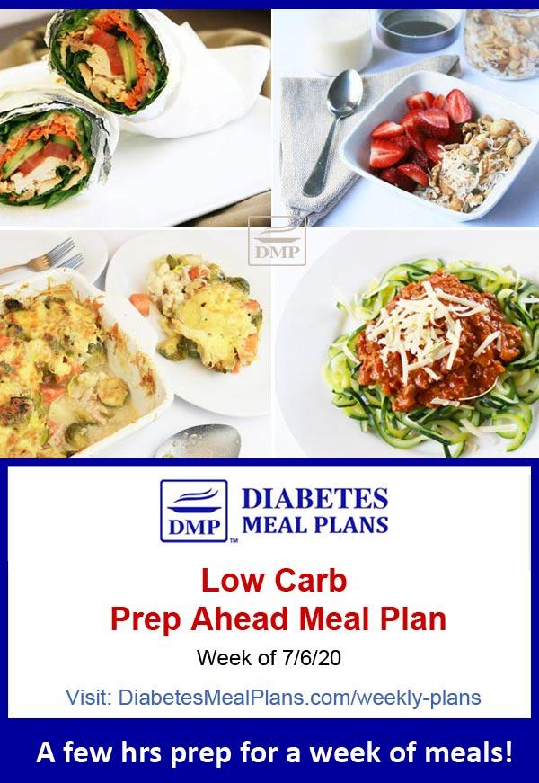 Diabetes Meal Plan: Menu Week of 7/6/20