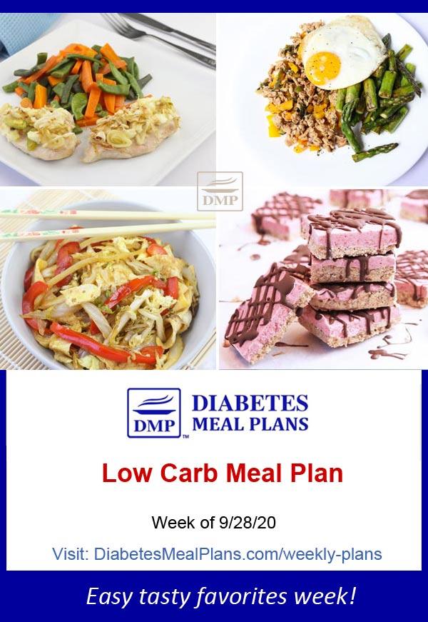 Diabetes Meal Plan: Menu Week of 9/28/20