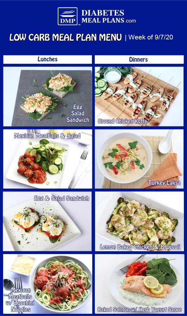 Diabetes Meal Plan: Menu Week of 9/7/20
