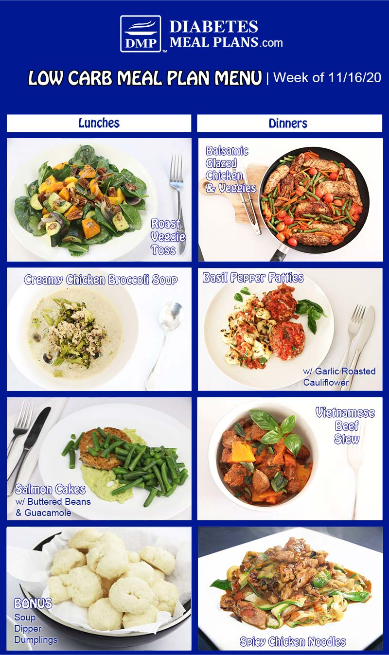 Diabetes Meal Plan: Menu Week of 11/16/20