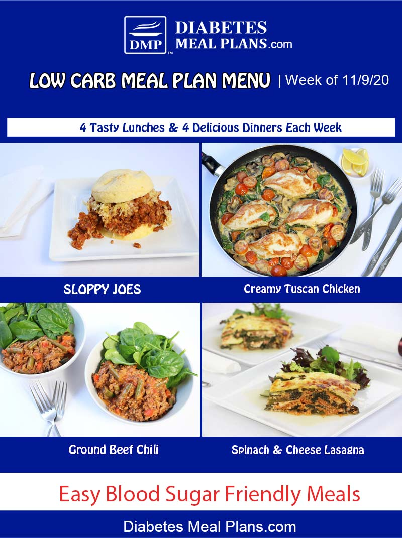 Diabetes Meal Plan: Menu Week of 11/9/20