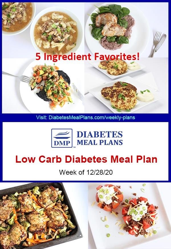 Diabetes Meal Plan: Menu Week of 12/28/20