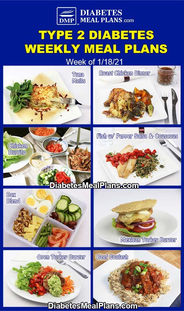 Diabetes Meal Plan: Menu Week of 1/18/21