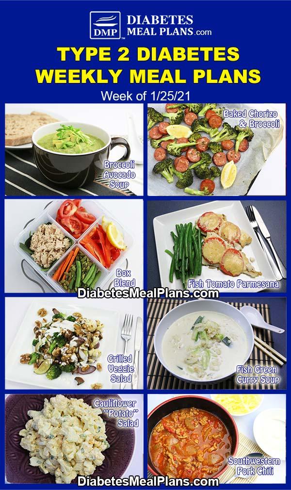 Diabetes Meal Plan: Menu Week of 1/25/21