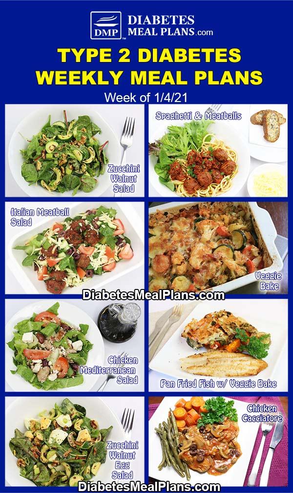 Diabetes Meal Plan: Menu Week of 1/4/21