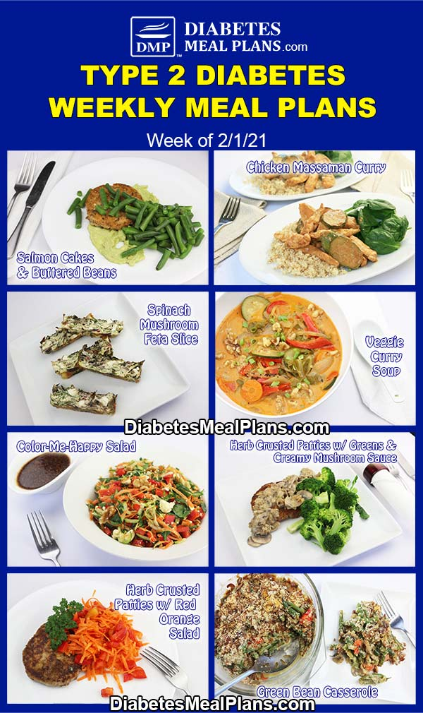 Diabetes Meal Plan: Menu Week of 2/1/21