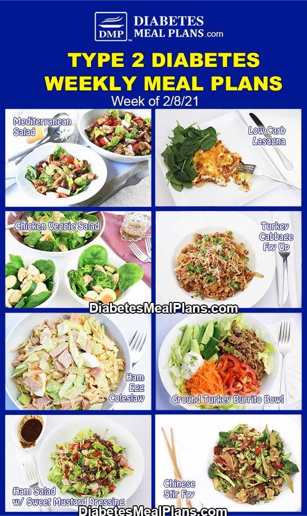 Diabetes Meal Plan: Menu Week of 2/8/21