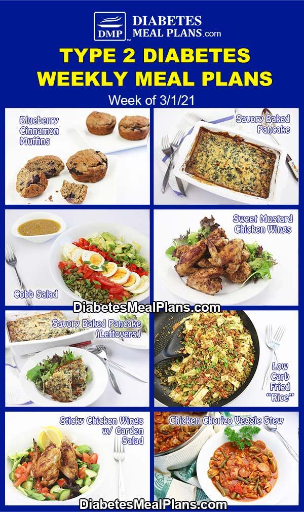 Diabetes Meal Plan: Menu Week of 3/1/21