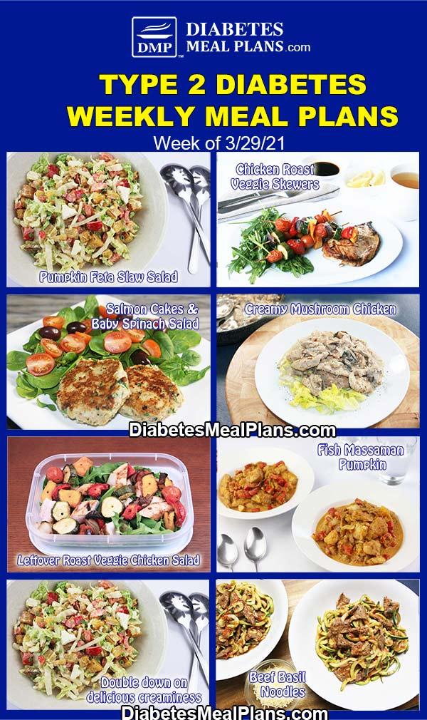 Diabetes Meal Plan: Menu Week of 3/29/21